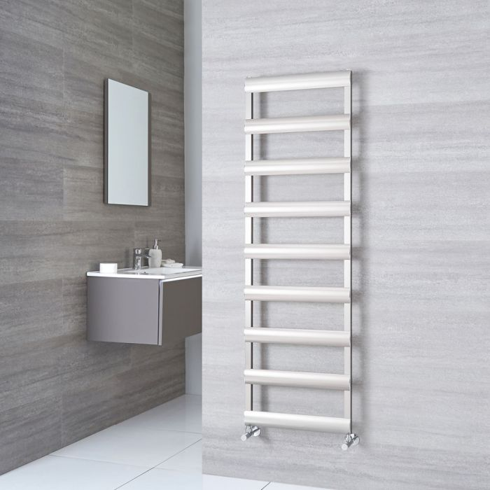 Milano Passo - Brushed Chrome Aluminium Designer Towel Rail 1590mm x 500mm