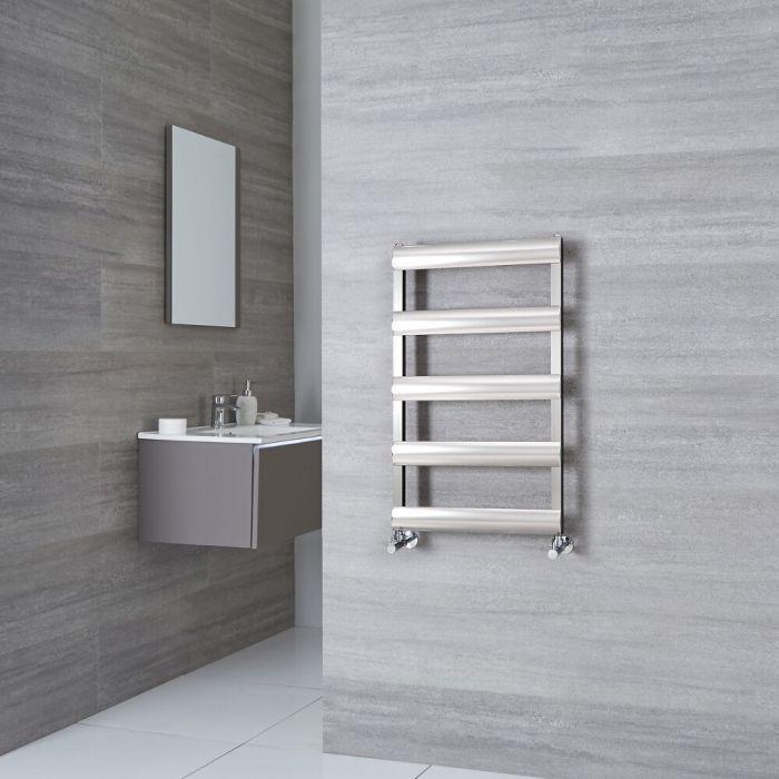 Milano Passo - Brushed Chrome Aluminium Designer Towel Rail 790mm x 500mm