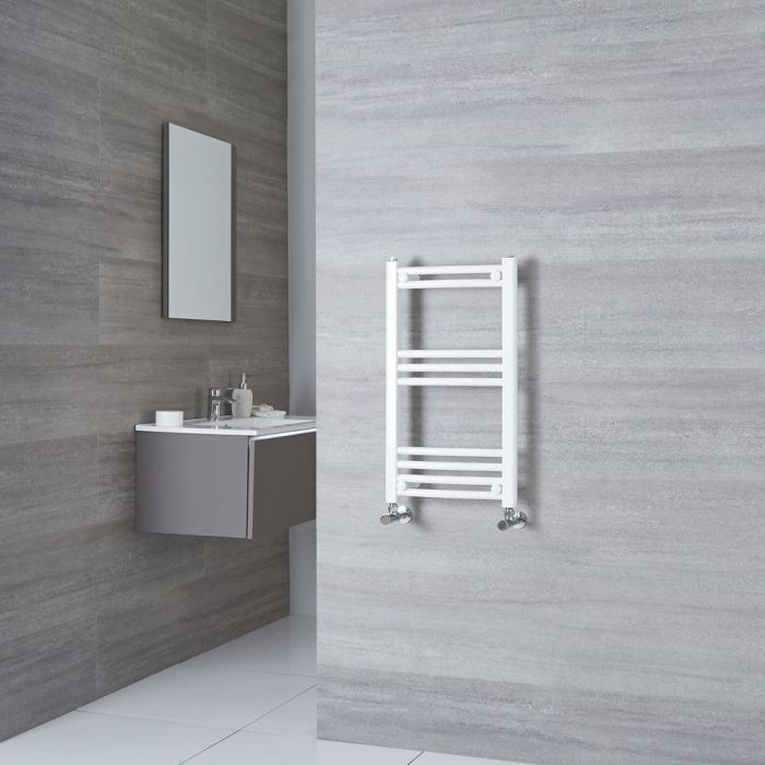 Milano Calder - Curved White Heated Towel Rail 700mm x 400mm