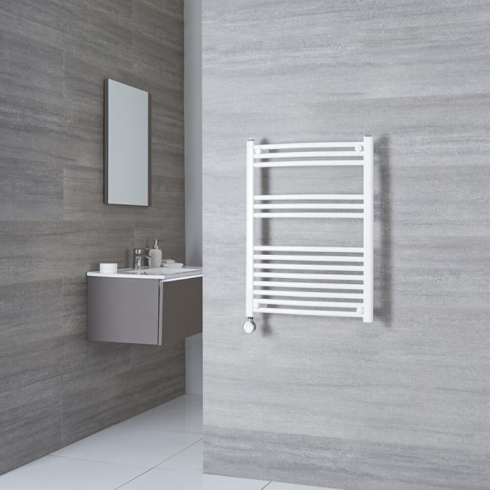 Milano Calder Electric - Curved White Heated Towel Rail 800mm x 500mm