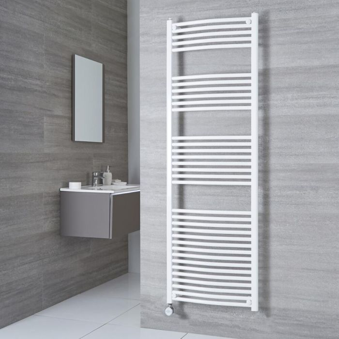 Milano Calder Electric - Curved White Heated Towel Rail 1800mm x 500mm