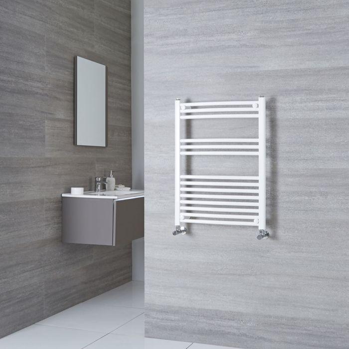 Milano Calder - Curved White Heated Towel Rail 800mm x 600mm