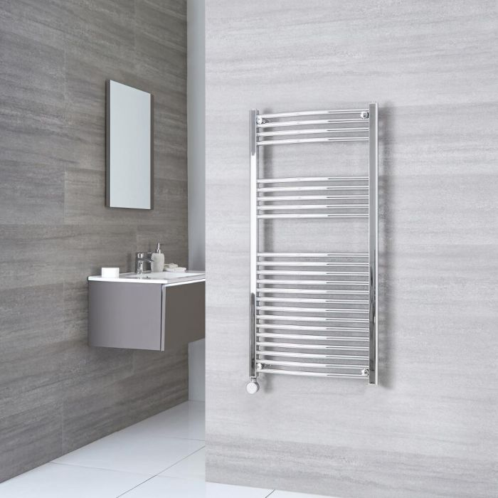 Milano Ribble Electric - Curved Chrome Heated Towel Rail 1200mm x 600mm