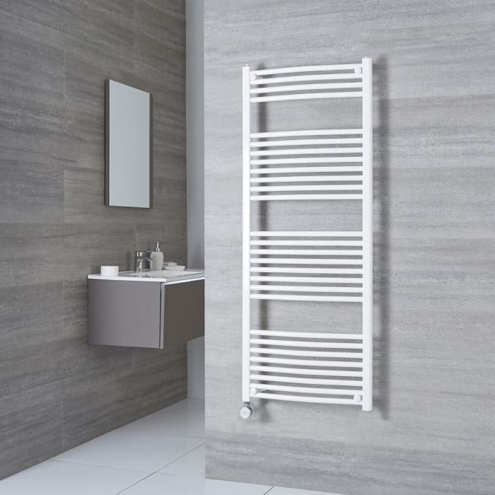 Milano Calder Electric - Curved White Heated Towel Rail 1500mm x 600mm