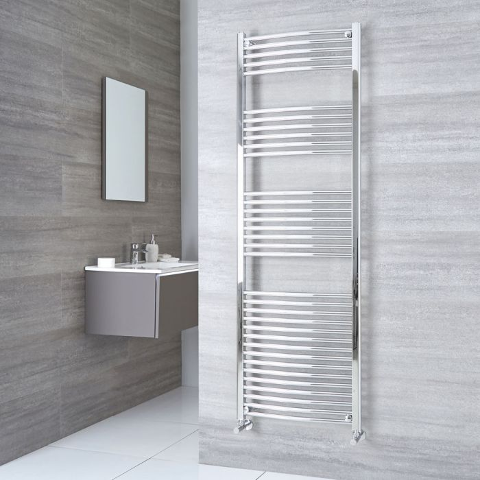 Milano Ribble - Curved Chrome Heated Towel Rail 1800mm x 600mm
