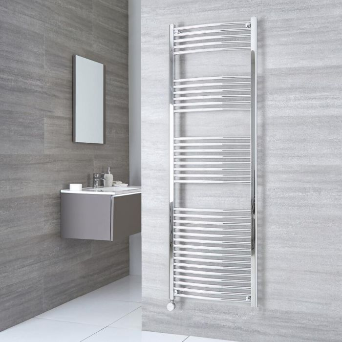 Milano Ribble Electric - Curved Chrome Heated Towel Rail 1800mm x 600mm