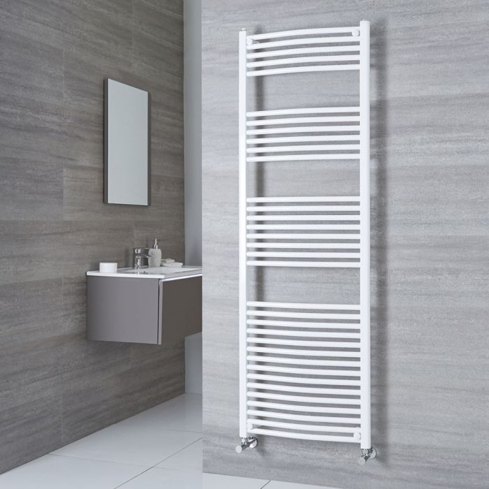 Milano Calder - Curved White Heated Towel Rail 1800mm x 600mm