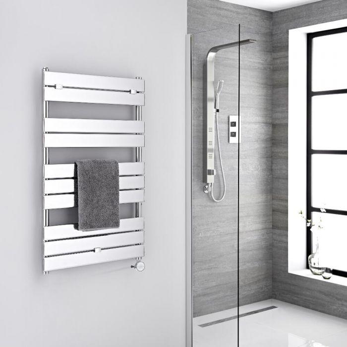 Milano Electric Lustro - Designer Chrome Flat Panel Heated Towel Rail - 1000mm x 600mm