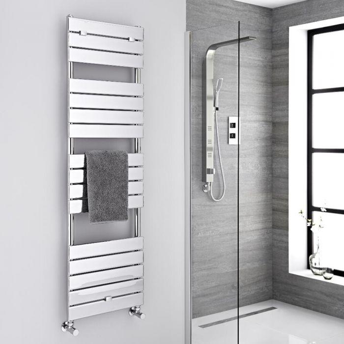 Milano Lustro - Designer Chrome Flat Panel Heated Towel Rail - 1512mm x 450mm