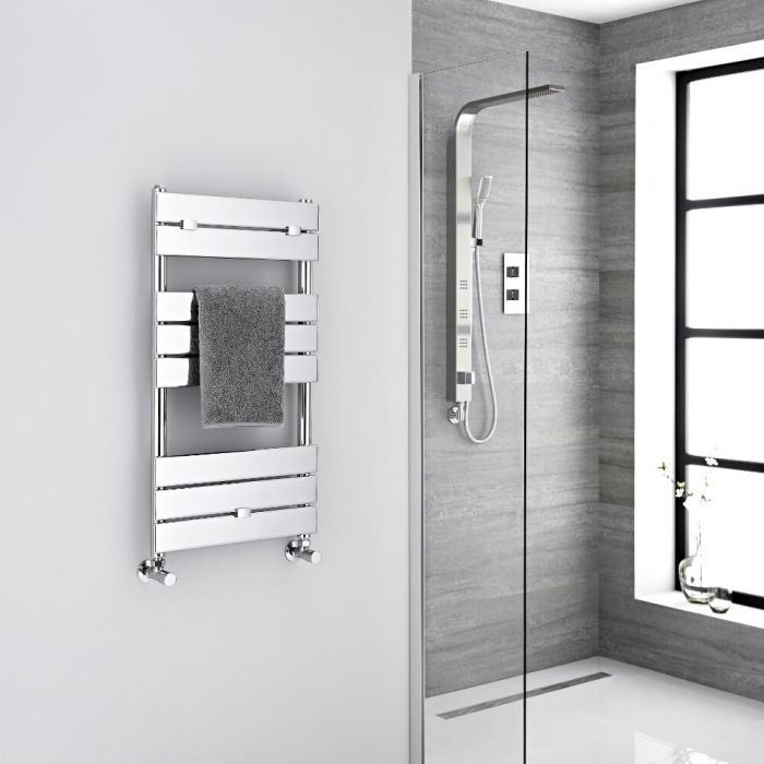 Milano Lustro - Designer Chrome Flat Panel Heated Towel Rail - 840mm x 450mm