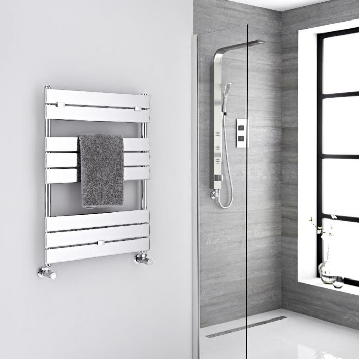 Milano Lustro - Designer Chrome Flat Panel Heated Towel Rail - 840mm x 600mm