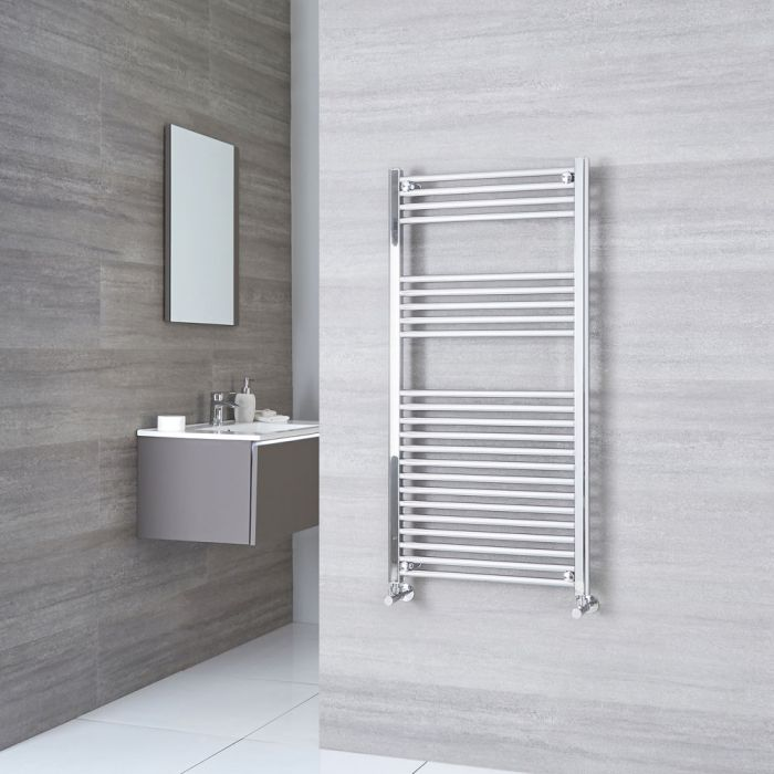 Milano Ribble - Flat Chrome Heated Towel Rail 1200mm x 600mm