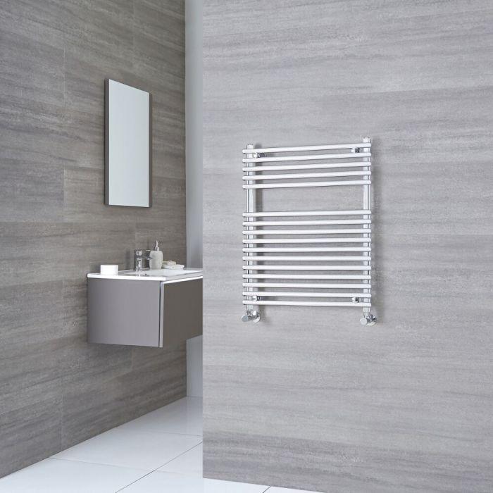 Kudox - Flat Chrome Bar on Bar Heated Towel Rail 750mm x 450mm