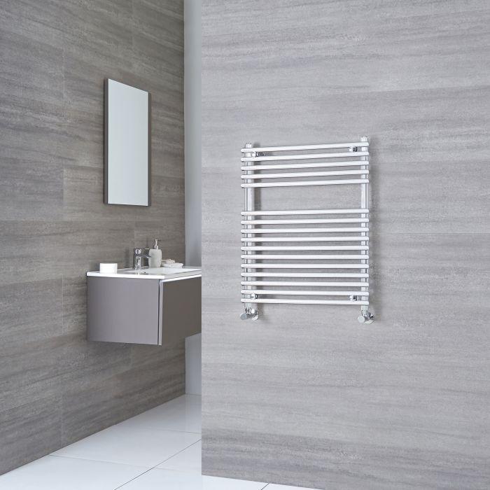 Kudox - Flat Chrome Bar on Bar Towel Rail 750mm x 600mm