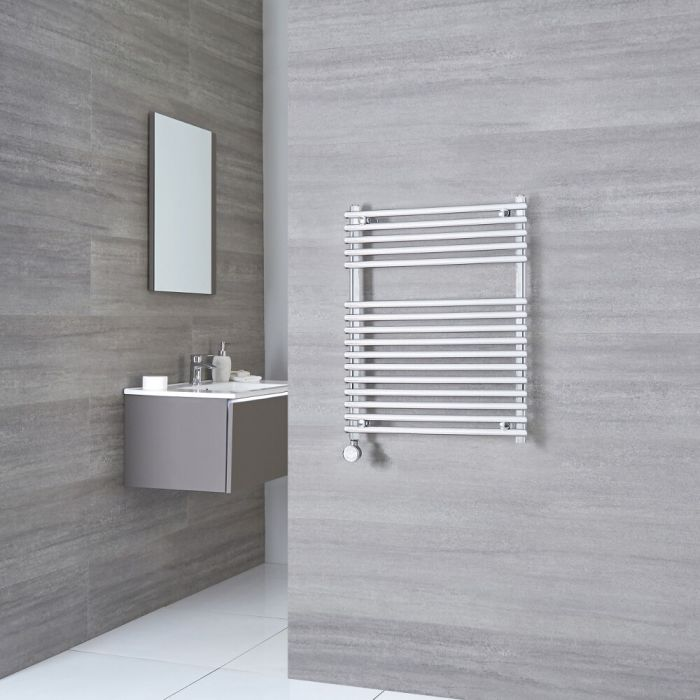 Kudox Electric - Flat Chrome Bar on Bar Towel Rail 750mm x 600mm