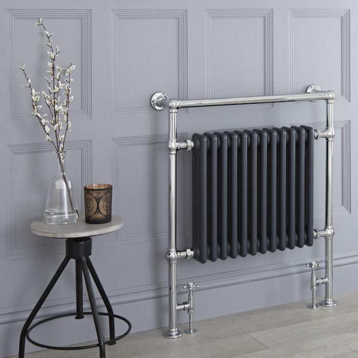 Milano Trent - Anthracite Traditional Heated Towel Rail - 930mm x 790mm (Flat Top Rail)
