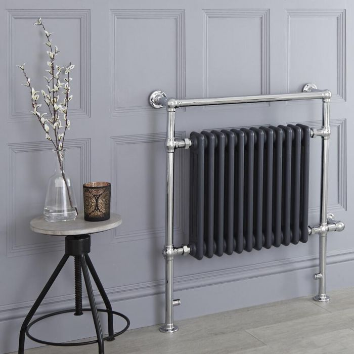Milano Trent - Anthracite Traditional Electric Heated Towel Rail - 930mm x 790mm (Flat Top Rail)
