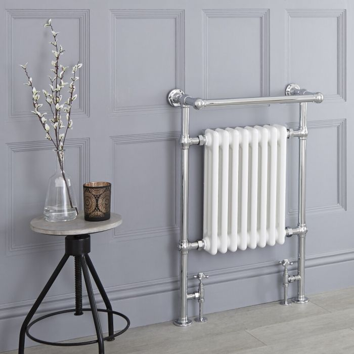 Milano Trent - Traditional Heated Towel Radiator 930mm x 620mm (Protruding Top Rail)