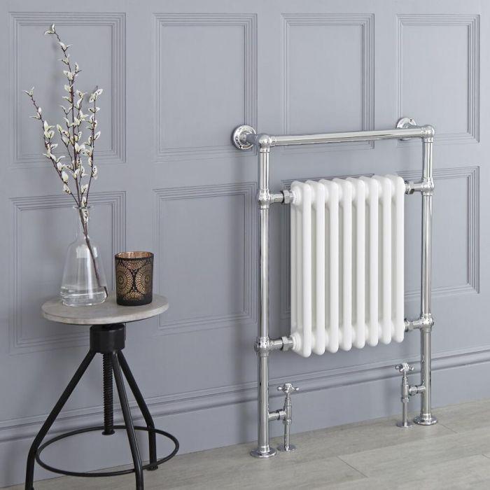 Milano Trent - White Traditional Heated Towel Rail - 930mm x 620mm (Flat Top Rail)