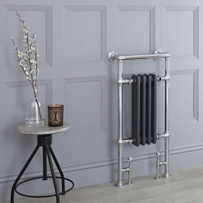 Milano Elizabeth - Anthracite Traditional Heated Towel Rail - 930mm x 452mm (Flat Top Rail)
