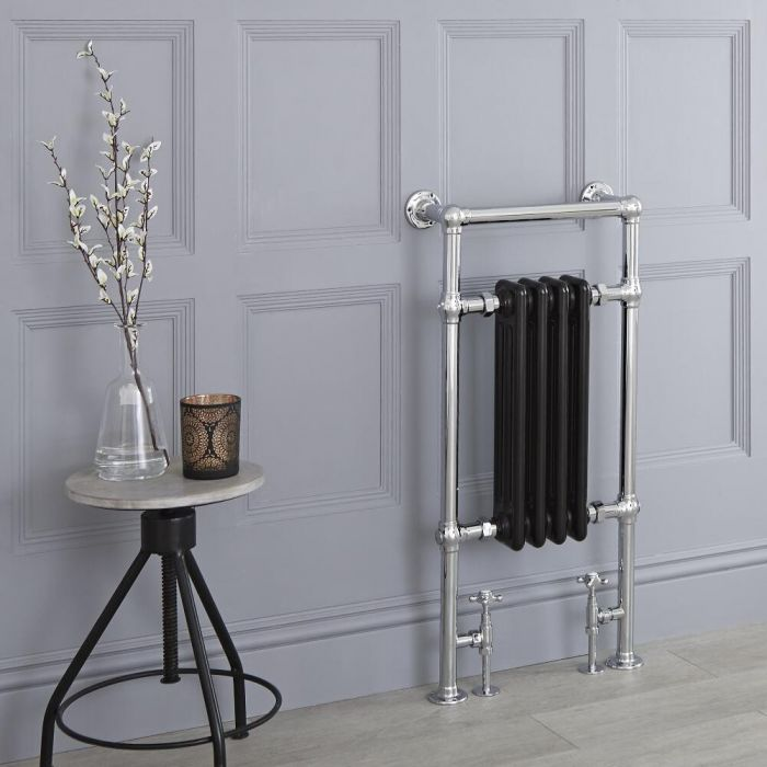 Milano Elizabeth - Black Traditional Heated Towel Rail - 930mm x 450mm (Flat Top Rail)