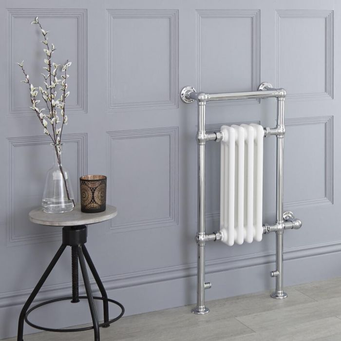 Milano Trent - White Traditional Electric Heated Towel Rail - 930mm x 450mm (Flat Top Rail)