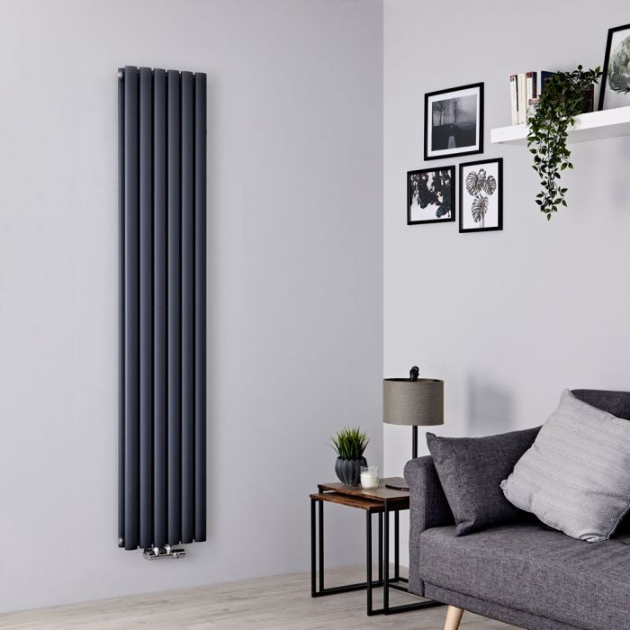 Milano Aruba Flow - Anthracite Vertical Double Panel Middle Connection Designer Radiator 1780mm x 354mm