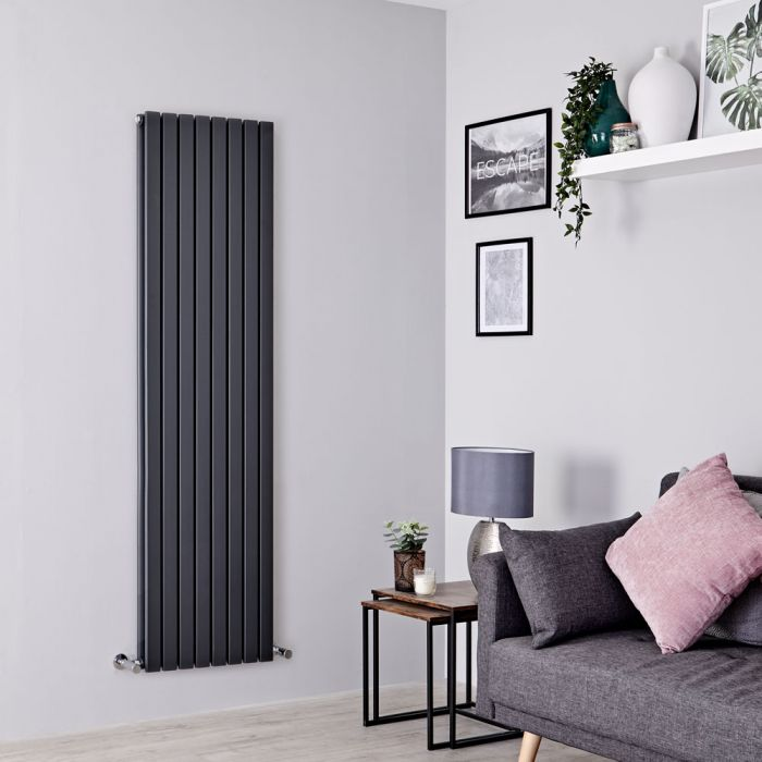 Milano Capri - Anthracite Flat Double Panel Designer Vertical Radiator 1780mm x 472mm