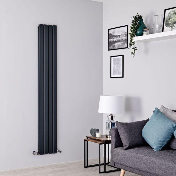 Milano Alpha - Anthracite Vertical Double Slim Panel Designer Radiator 1780mm x 280mm