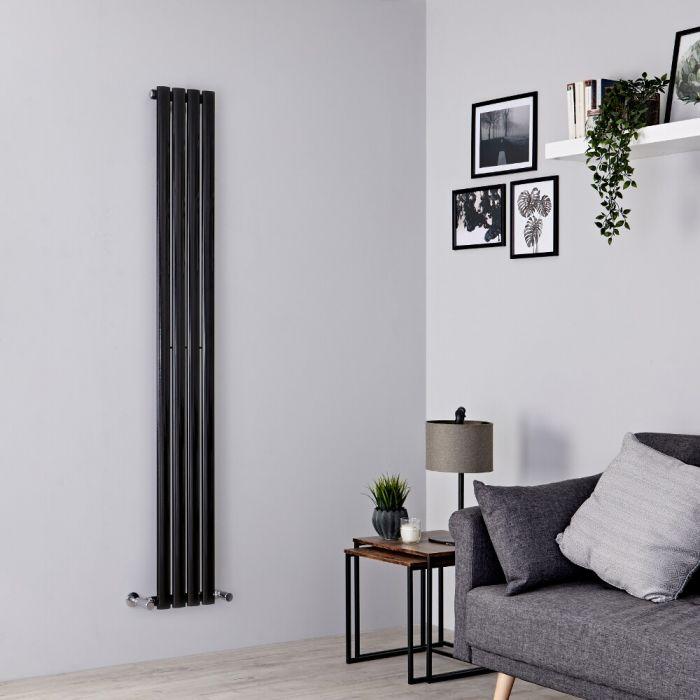 Milano Aruba Slim - Black Space-Saving Vertical Designer Radiator 1780mm x 236mm