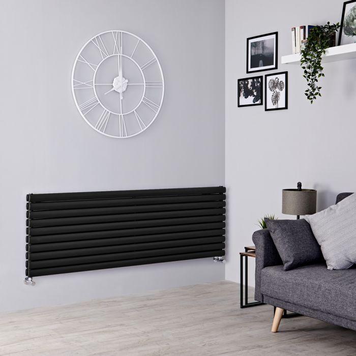 Milano Aruba - Black Horizontal Designer Radiator 590mm x 1780mm (Double Panel)