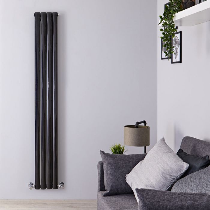 Milano Aruba Slim - Black Space-Saving Vertical Designer Radiator 1780mm x 236mm (Double Panel)