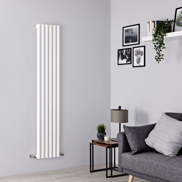 Milano Java - White Vertical Round Tube Designer Radiator 1780mm x 354mm