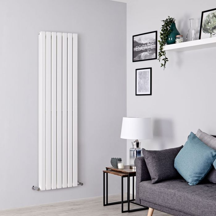Milano Alpha - White Vertical Double Slim Panel Designer Radiator 1780mm x 490mm