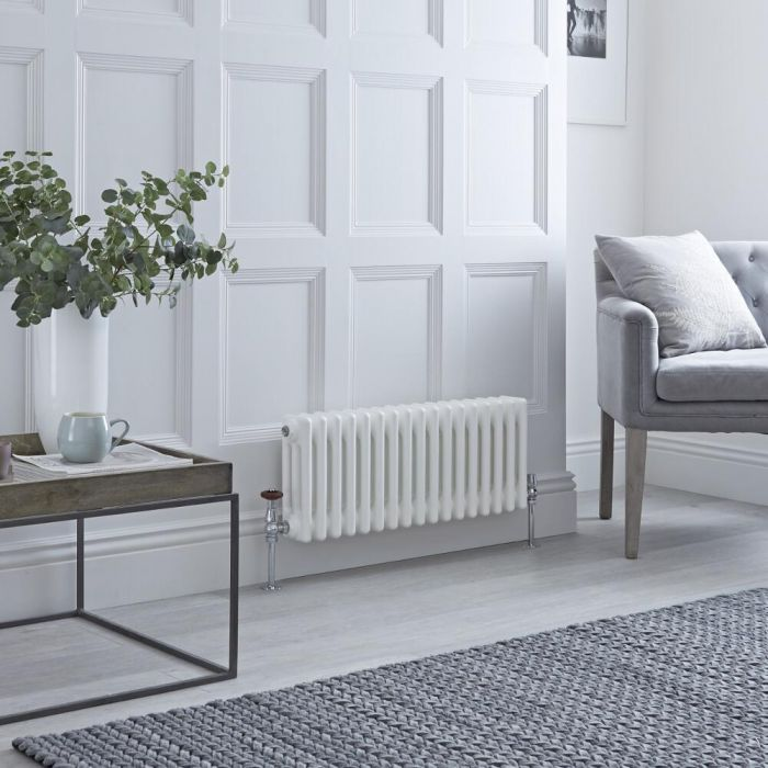 Milano Windsor - Horizontal Triple Column White Traditional Cast Iron Style Radiator - 300mm x 785mm