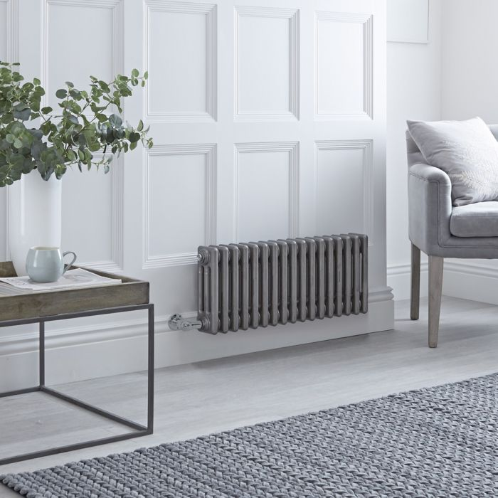 Milano Windsor - Traditional Horizontal 3 Column Electric Radiator - Raw Metal Lacquered - 300mm x 785mm
