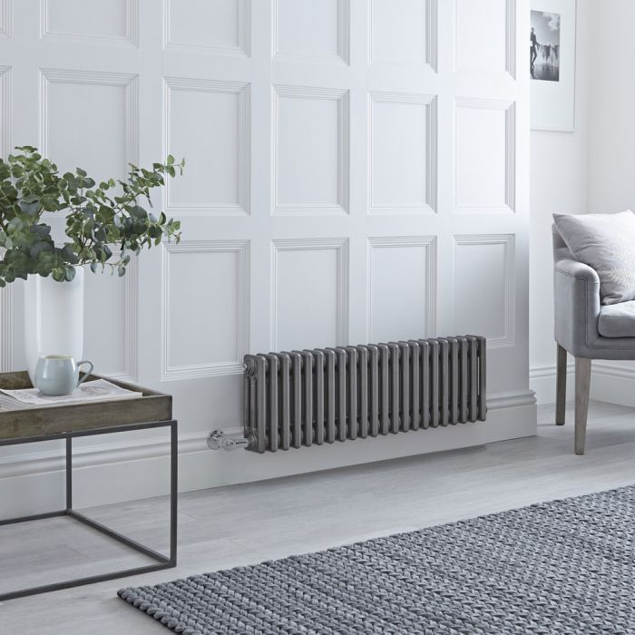 Milano Windsor - Traditional Horizontal 3 Column Electric Radiator - Raw Metal Lacquered - 300mm x 1010mm