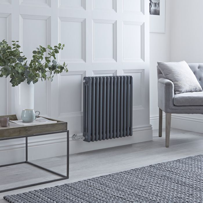 Milano Windsor - Traditional Anthracite 3 Column Electric Radiator 600mm x 605mm (Horizontal)