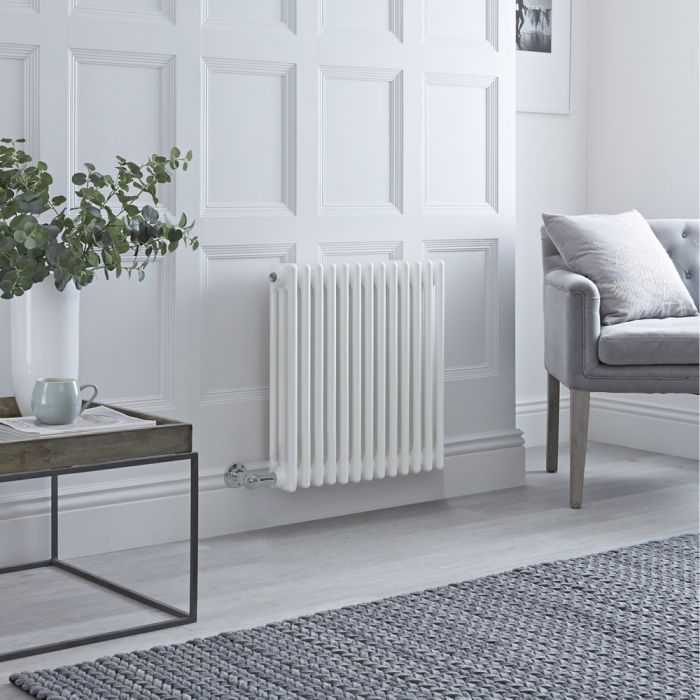 Milano Windsor - Traditional White 3 Column Electric Radiator 600mm x 605mm (Horizontal) - Choice of Wi-Fi Thermostat