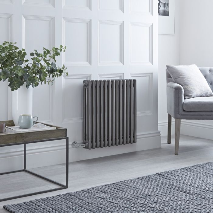 Milano Windsor - Traditional Horizontal 3 Column Electric Radiator - Raw Metal Lacquered 600mm x 605mm
