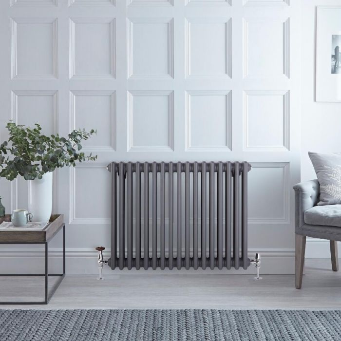 Milano Windsor - Horizontal Triple Column Anthracite Traditional Cast Iron Style Radiator - 600mm x 785mm