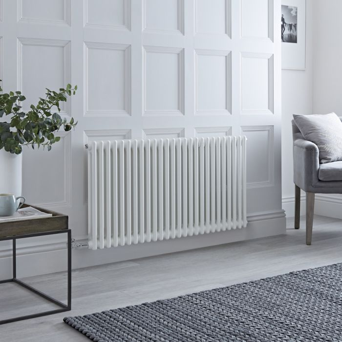 Milano Windsor - Traditional 26 x 2 Column Electric Radiator Cast Iron Style White 600mm x 1190mm