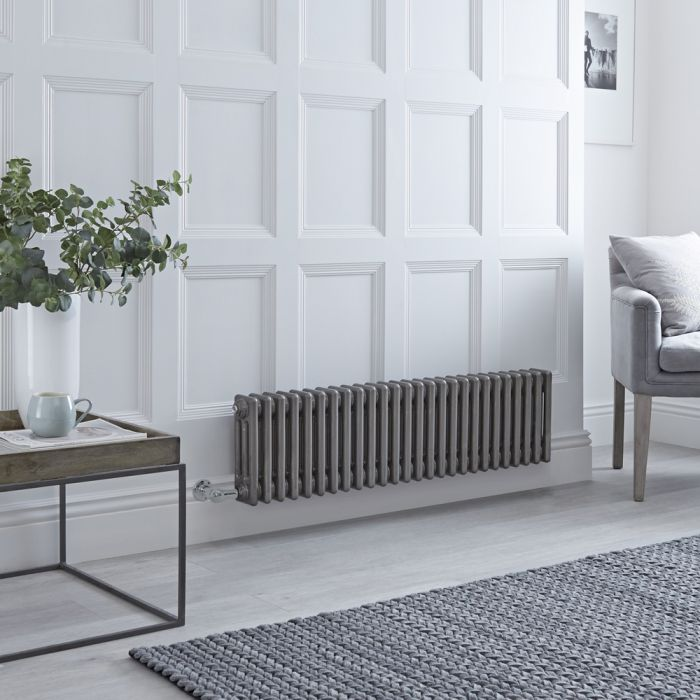 Milano Windsor - Traditional Horizontal 3 Column Electric Radiator - Raw Metal Lacquered - 300mm x 1190mm