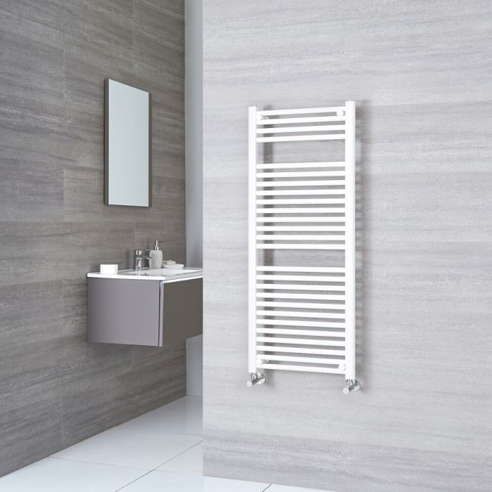 Sterling - Premium White Flat Heated Towel Rail 1200mm x 600mm