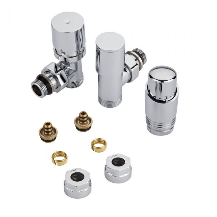Chrome 3/4'' Male Thread Valve with Chrome TRV & 14mm Multi Adapters