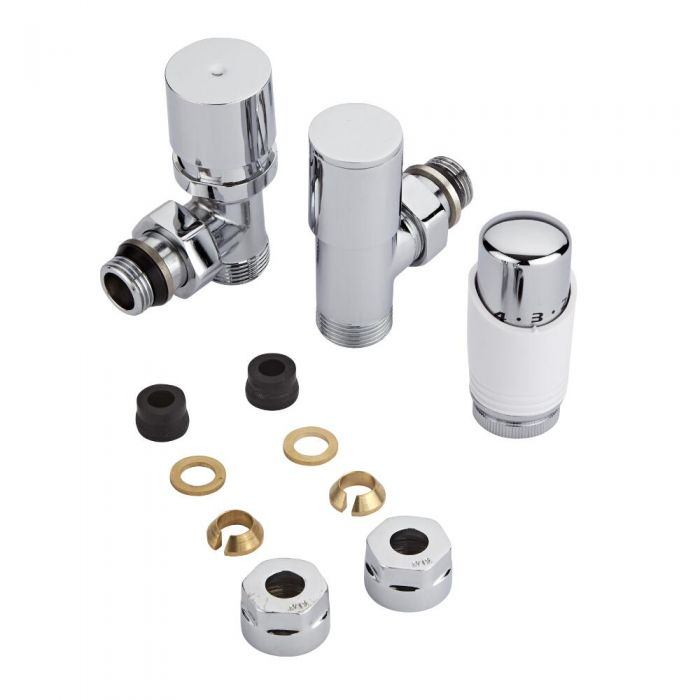 Chrome 3/4'' Male Thread Valve with White TRV & 12mm Copper Adapters