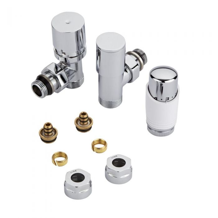 Chrome 3/4'' Male Thread Valve with White TRV & 14mm Multi Adapters