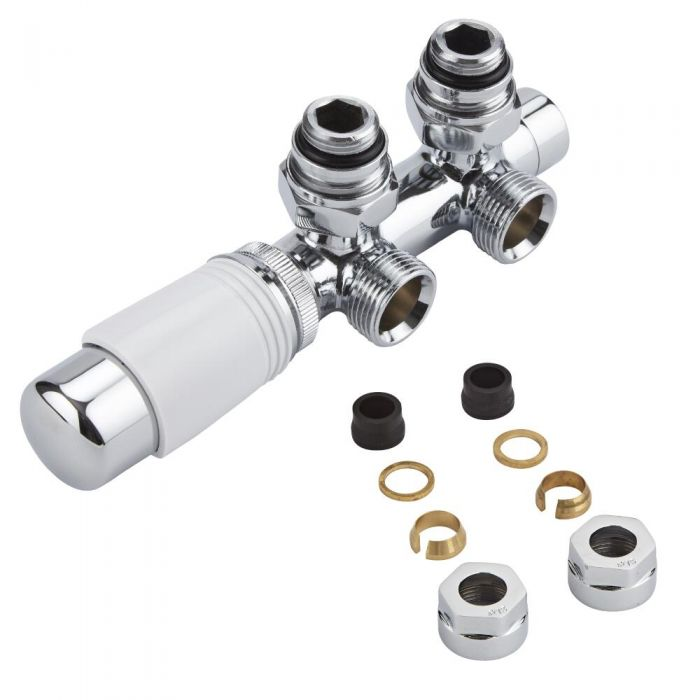 """Chrome 3/4"""" Male H Block Angled Valve with White TRV Head & 15mm Copper Adapters"""