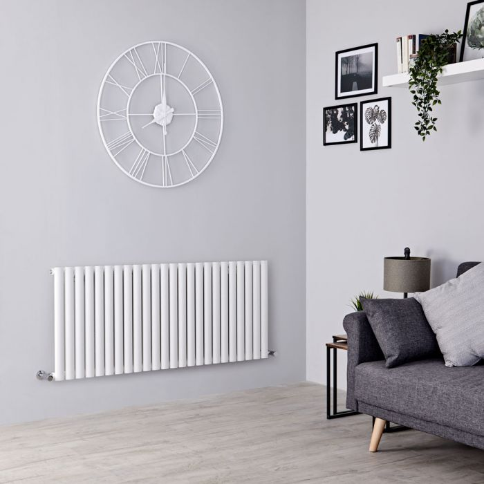 Milano Aruba Aiko - Modern White Horizontal Designer Radiator 601mm x 1411mm (Single Panel)