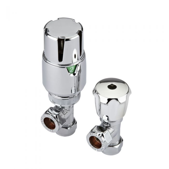Milano - Thermostatic Chrome Angled Radiator Valves (Pair)